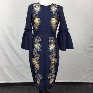 Ted Baker Jeeane Stardust Flute Sleeve Midi Dress